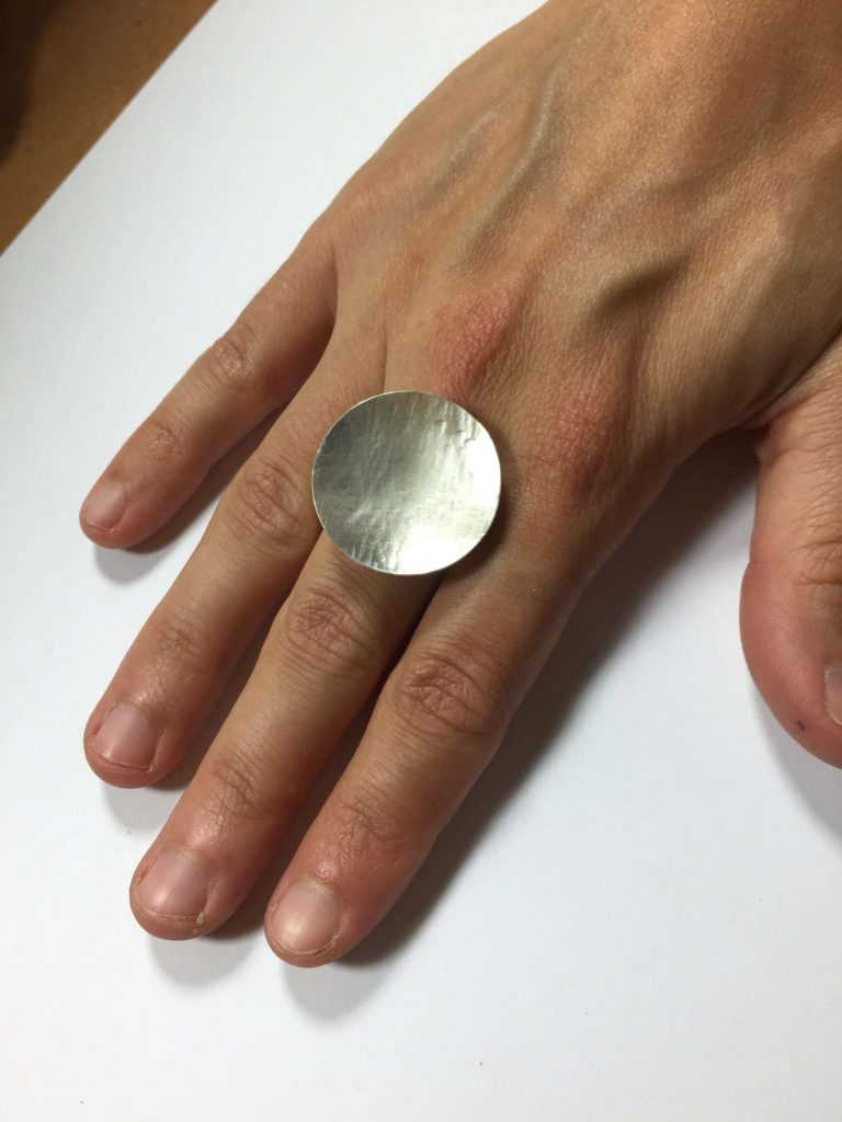 Silver ring handmade by a student in the Beginners Jewellery making class at SquarePeg Studios in Sydney