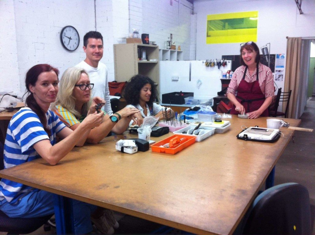 Students learning how to make jewellery at SquarePeg Studios in Sydney