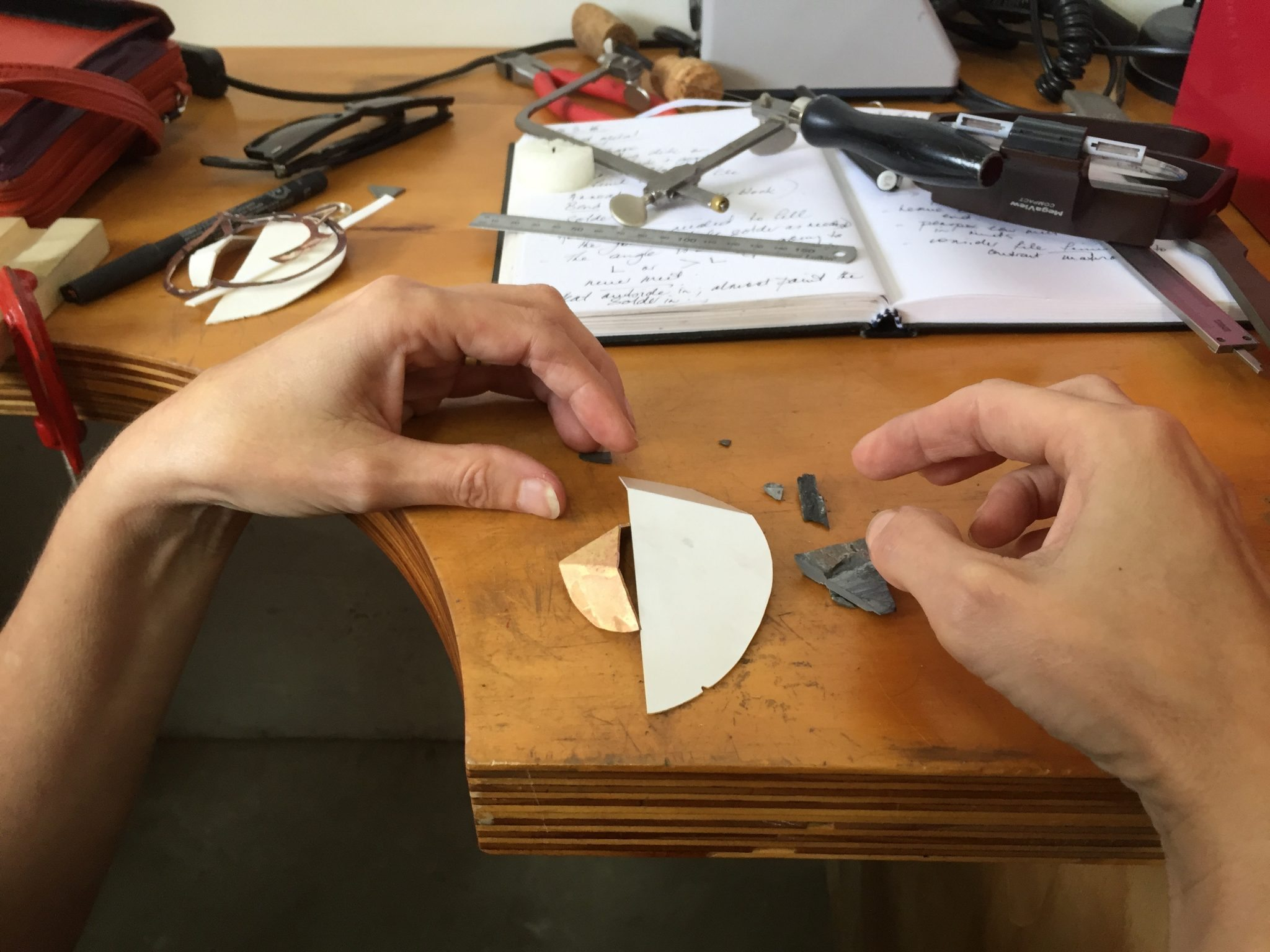 learning how to make jewellery in the Introductory jewellery making course