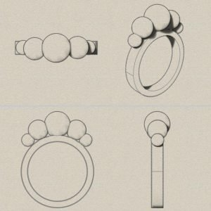 Renders of a 3D Modelled ring with spheres on top of the design