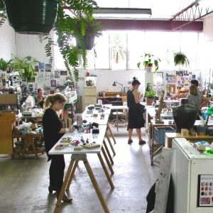 View of artists studios with hanging plants
